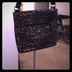 Leopard and teal Coach, crossbody, messenger bag